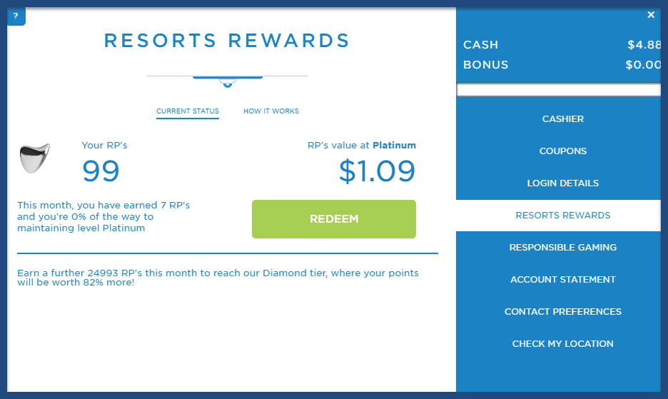 casino rewards account